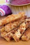 Fried tofu sticks with marinara dip Stock Image