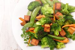 Fried tofu and vegetable. Top view Royalty Free Stock Photos