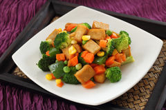 Fried Tofu with Vegetables. Stock Images