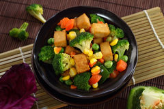 Fried Tofu with Vegetables. Royalty Free Stock Image
