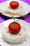 Fried tomatoes on rice Stock Photography