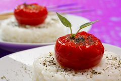 Fried tomatoes on rice Stock Images