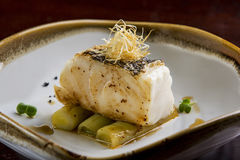 Free Fried Toothfish With Onion On Dish Stock Photos - 77416013