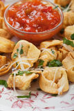 Fried tortellini. Pasta with parmesan and tomato sauce Royalty Free Stock Photography