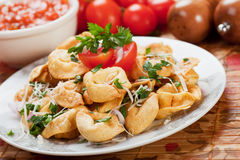 Fried tortellini. Pasta with parmesan and tomato sauce stock photography