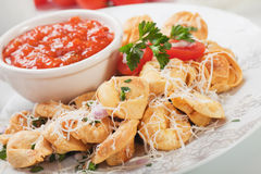 Fried tortellini pasta Stock Images