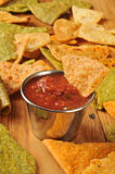 Fried tortilla chips and salsa Stock Image