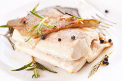 Fried trout. Trout fired with spices closeup royalty free stock photo