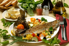 Fried trout Stock Images