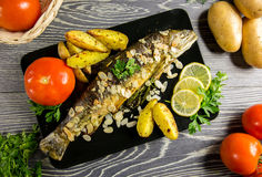 Fried trout with almonds Royalty Free Stock Image
