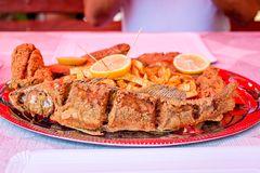 Fried trout fish and catfish pieces, fried potatoes, decorated with lemon slices on plate. Fresh fish from Tisza river. Delicious fried trout fish and catfish stock photos