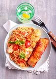 Fried trout fish and spaghetti Royalty Free Stock Photos