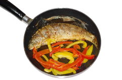 Fried trout with vegetables Stock Photography