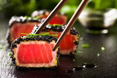 Fried tuna steak in black sesame Royalty Free Stock Photography
