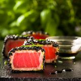 Fried tuna steak in black sesame Stock Photo