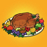 Fried Turkey dish on Thanksgiving day. Pop art retro vector illustration. Autumn harvest Royalty Free Stock Images