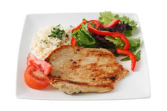 Fried turkey with rice and salad Royalty Free Stock Photography