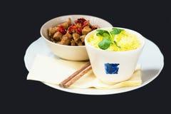 Fried turkey, saffron rice, asian food Royalty Free Stock Photos