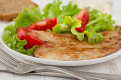 Fried turkey with salad Royalty Free Stock Images