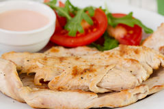 Fried turkey with salad Royalty Free Stock Photography