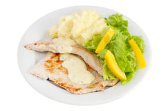 Fried turkey with sauce, potato and fresh salad Stock Photography