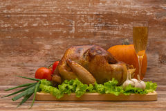 Fried turkey with vegetables and glass of wine Stock Photo