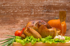 Fried turkey with vegetables and glass of wine Stock Photography