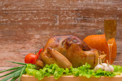 Fried turkey with vegetables and glass of wine Royalty Free Stock Photo