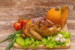 Fried turkey with vegetables and glass of wine Stock Images