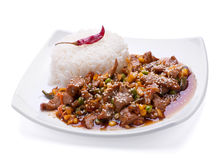Fried veal meat slice with rice Stock Photo
