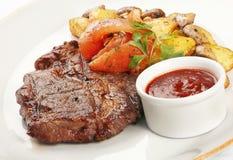 Fried veal steak Stock Photos