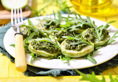 Fried vegetable marrow with sauce pesto. Stock Image