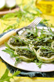 Fried vegetable marrow with sauce pesto. Stock Images