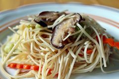 Fried vegetable noodles. Fried Chinese vegetable noodles for vegan Royalty Free Stock Photos
