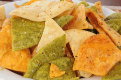 Fried vegetable tortilla chips Royalty Free Stock Images