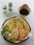 Fried Vegetables. Japanese food tempura fish and vegetables fried Stock Photos
