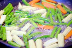 Fried Vegetables. Asparagus, Carrots, Baby Corns Stock Photography