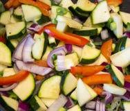 Fried vegetables. Close-up of sliced, fried vegetables Stock Image