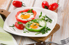 Fried vegetables and eggs Royalty Free Stock Images