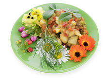 Fried vegetables with flowers Royalty Free Stock Images