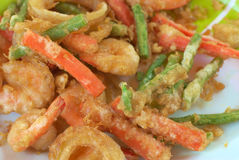 Fried vegetables and fried shrimp Royalty Free Stock Photos