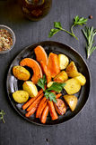 Fried vegetables, top view Royalty Free Stock Images