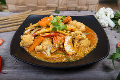Fried Vegetarian in yellow curry Royalty Free Stock Images