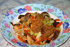 Fried vermicelli. With pork and mixed vegetables royalty free stock photos