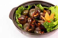 Fried Vietnamese snails with pepper and salads in mekong style b stock photo