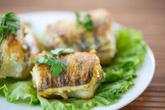 Fried walleye royalty free stock images