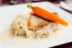 Fried walleye on plate Stock Photography