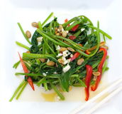 Fried water spinach with chil Royalty Free Stock Photos