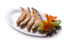 Fried Whisker sheat fish with chili sauce Stock Image
