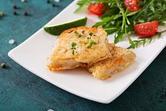 Fried white fish fillets and tomato salad with arugula. Stock Images